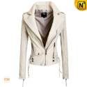 White Cropped Leather Jacket CW608341 - cwmalls.com