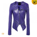 Cropped Leather Jacket Purple CW670021 - cwmalls.com