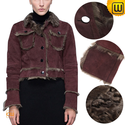 Women Vintage Cropped Shearling Jacket CW614081