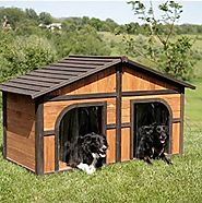 Extra Large Solid Wood Dog Houses - Suits Two Dogs Or 1 Large Breeds. This Spacious Large Dog Kennel Has Two Doors An...