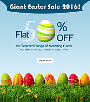 Flat 50% Off on Wedding Invitations this Easter 2016 – Wedding Card Offer!