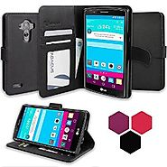 LG G4 Case, Abacus24-7 [Wallet Series] with Flip Cover & Stand, Black