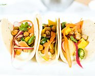 CARROT & CHICKPEA TACOS WITH CILANTRO YOGURT
