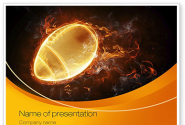 Fiery American Football Ball PowerPoint Template