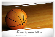 Basketball on Floor PowerPoint Template