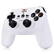 T5 Wireless Bluetooth 3.0 Gamepad Gaming Controller with Stand for Android Smartphone (WHITE)