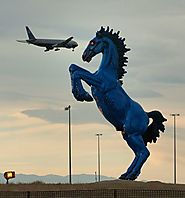 Speaking of Broncos, Denver International Airport has that creepy blue horse with red eyes.