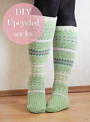 DIY Upcycled Socks from sweater sleeves - Pearls and Scissors