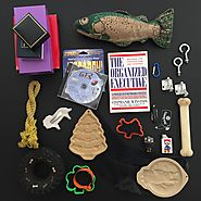 Minimalist game day 14. 14 items each 28 items total. Featured item stuffed fish dog toy.