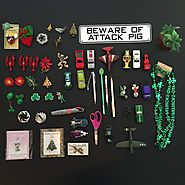 Minimalist game day 25. 25 items each 50 items total. Featured item - Beware Attack Pig Sign