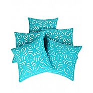 Shop Gorgeous & Decorative Patch Work Turquoise Cushion Cover (Set Of 5 ) at Rajrang