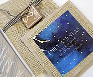 Emily + Sean's Engraved Watercolor Burlap Save the Dates