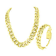 Purchase14k Gold Finish Miami Cuban Necklace Bracelet at Master Of Bling
