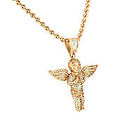 Buy Rose Gold Finish Simulated Diamond Angel Pendant Chain at Master Of Bling