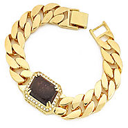 Book 14K Gold Tone Tiger Eye Gemstone Bracelet at Master Of Bling