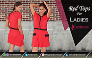 Online Indian Party Wear Red Color Tops for Girls