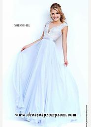 A Line Cheap Sherri Hill 11269 Silver Lace Prom Dress Fashion