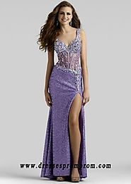 Sequin Crystal Straps Lavender Leg Slit Long Prom Dresses