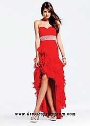High Low Red Strapless Sequin Waist Ruched Prom Dresses for Sale