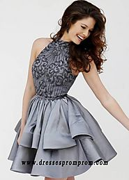 Hot Trends Sherri Hill 32338 Gunmetal Halter Neck Beaded Bodice Tiered Homecoming Dress