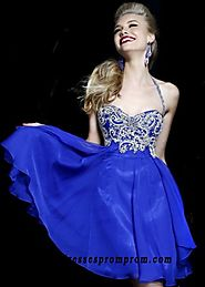 Dazzling Rhinestone Beaded Top Sherri Hill 3878 Royal Halter Chiffon Prom Dress