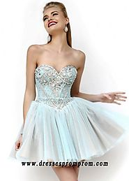 Aqua A Line Beaded Lace Low Back Strapless Homecoming Dresses Online