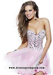 2016 Strapless Pink Layered Rhinestone Corset Top Party Dresses Sale