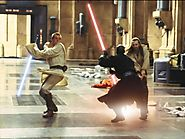 Qui-Gon Jinn and Obi-wan Kenobi battle Darth Maul