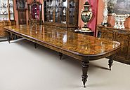 Huge 17ft Marquetry Burr Walnut Dining Table
