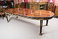 Antique Ormolu Mounted Flame Mahogany Dining Table c.1920