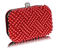 Beaded Women Shoulder Bags With Pearl Rhinestone Crystal Hard Case!