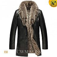 CWMALLS® 2in1 Black Raccoon Fur Coat CW855580