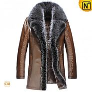 CWMALLS® Brown Mens Fur Leather Coat CW852555