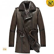 CWMALLS® Brown Double-Breasted Sheepskin Coat CW856080