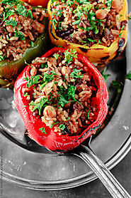 Stuffed Bell Pepper Recipe with Rice, Beef & Chickpeas