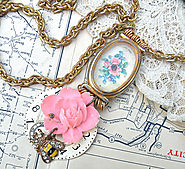necklace watch case assemblage pink rose pendant upcycle