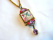 Vintage Look Repurposed Watch Case Locket With Swarovski Rhinestones