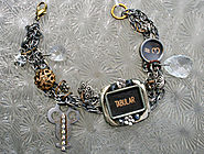 Typewriter Key in Watch Case Bracelet, with Charms, Antique Key and Crystals