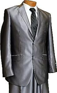 Shiny And Stylish Grey Sharkskin Suits For Men