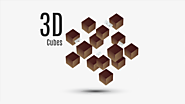 3D cubes Prezi template with 3D shapes