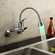 Chrome Finish Color Changing LED Single Handle Wall Mount Kitchen Faucet