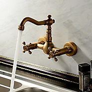 Antique inspired Kitchen Faucet Wall Mount - Antique Brass Finish