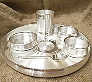 Buy Pure Silver Thali Dinner Set Online India| Original Silver Plate Online