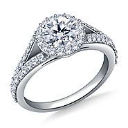 1.00 ct. tw. Round Brilliant Diamond Split Shank Halo Engagement Ring in 14K White Gold