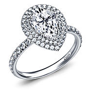Fancy Pear Shape Engagement Ring in 14K White Gold