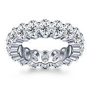 Prong Set Oval Cut Diamond Adorned Eternity Ring in Platinum (8.00 - 9.50 cttw.)
