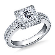 1.00 ct. tw. Split Shank Princess Cut Diamond Ring in 14K White Gold