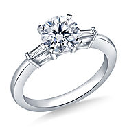 1.00 ct. tw. Round Diamond Engagement Ring with Tapered Baguettes in 14K White Gold