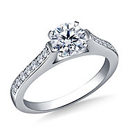 1/2 ct. tw. Round Brilliant Diamond Cathedral Engagement Ring in 14K White Gold