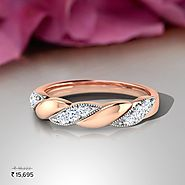 Chiba Love Twine Diamond Band - Set in 18 Kt Rose Gold (2.73 gms) with Diamonds (0.14 Ct, IJ-SI) Certified by SGL